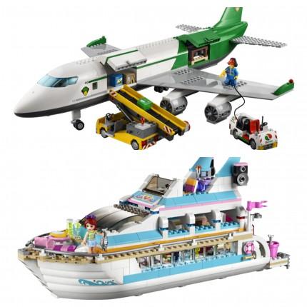 Lego flygplan och båt