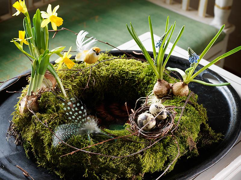 En vacker påskkrans på fat med påskliljor och lökar.