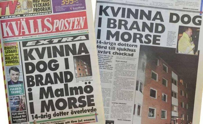 Dödsbranden orsakade stora rubriker i tidningarna.
