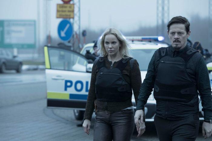 """Kriminalserien """"Bron"""" är en internationell succé och Sofia Helins polis """"Saga Norén"""" har fans över hela världen. Här med danske kollegan Thure Lindhardt"""