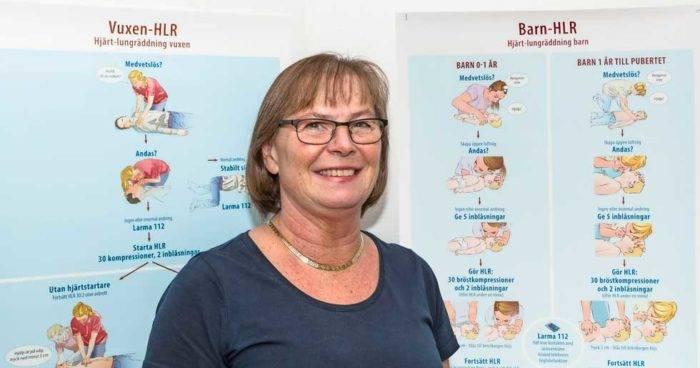 Lullan Backman, sjuksköterska som utbildar människor i både första hjälpen och i hjärt-lungräddning.