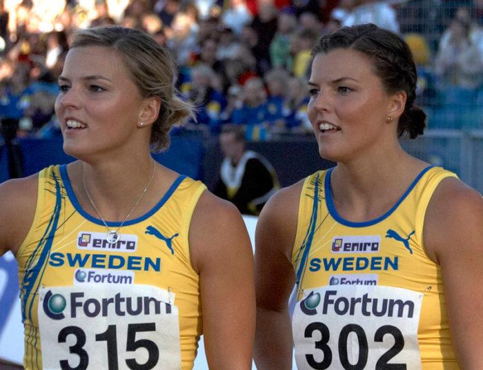 Susanna Kallur och Jenny Kallur i samband med Finnkampen 2007.