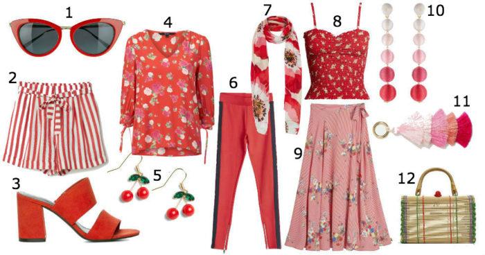 Röda kläder och accessoarer.