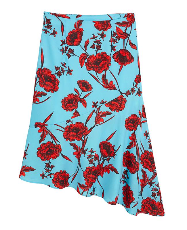 Blå blommig kjol från Lindex.