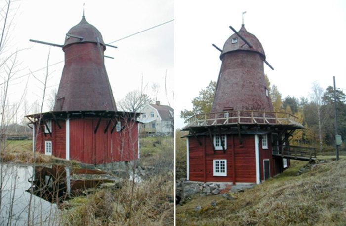 Utsidan av Kånsta kvarn som ligger ungefär två och en halv kilometer öster om byn Sköllersta.