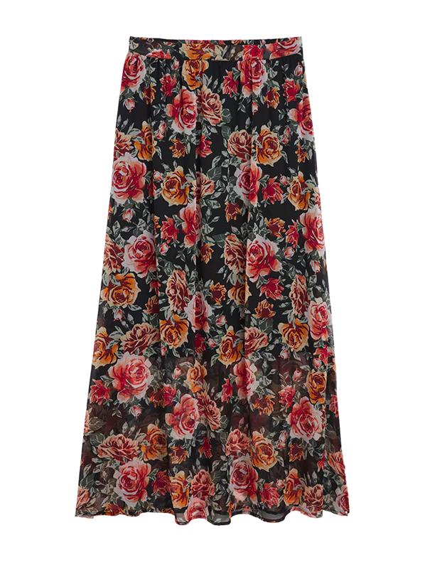 Lång blommig kjol från Lindex.