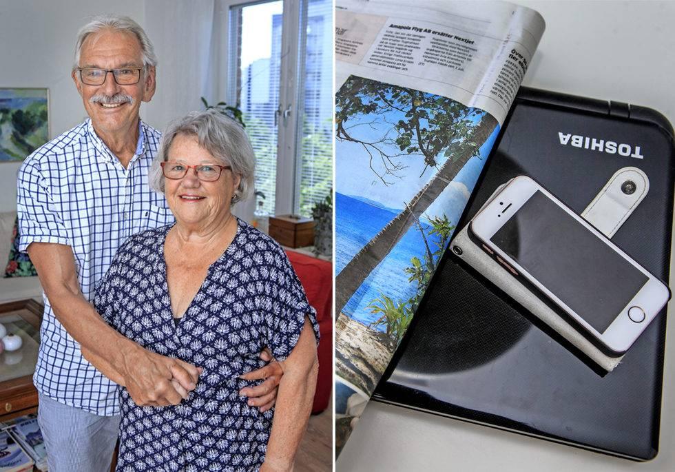 Ann-Britt och Tommy tillsammans och tidning, dator och mobiltelefon.