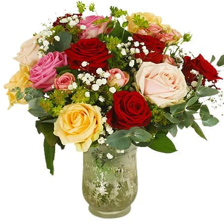 Bukett med romantiska blommor