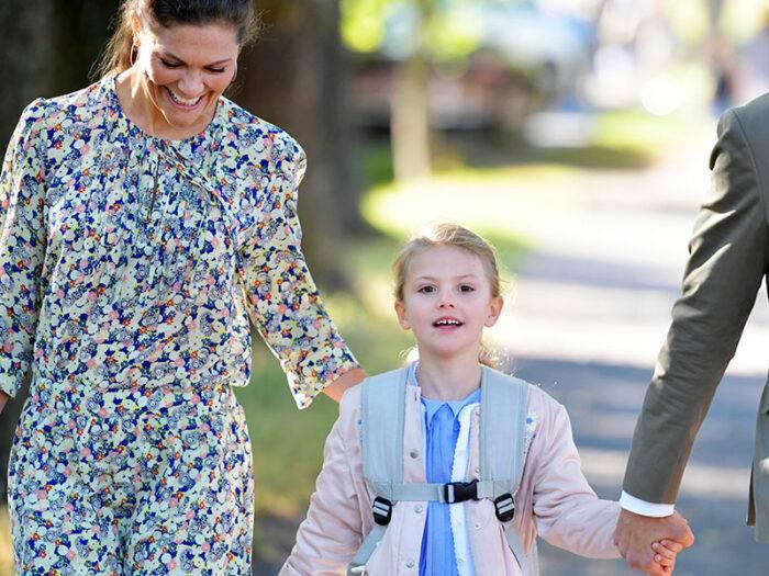 Prinsessan Estelles första dag i förskoleklass.