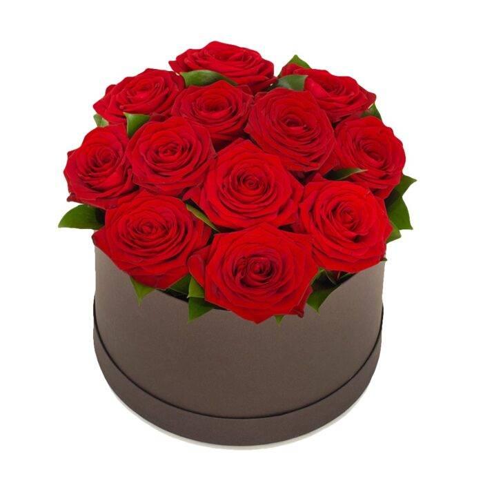 Box med röda rosor