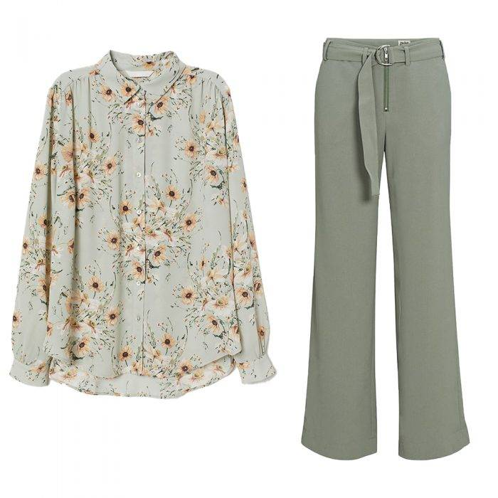 Blommig blus och gröna byxor