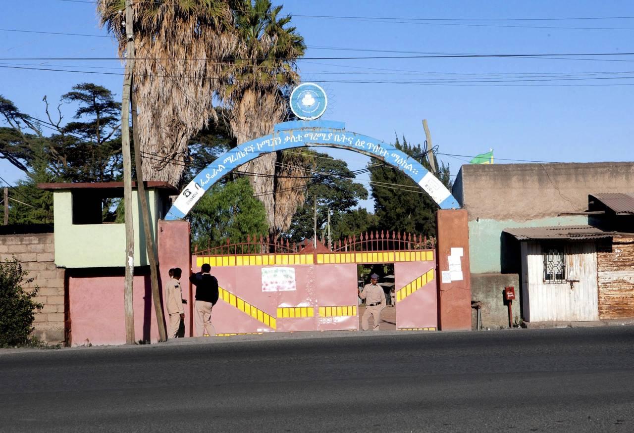 Porten till fängelset Kality i Addis Abeba, Etiopien.