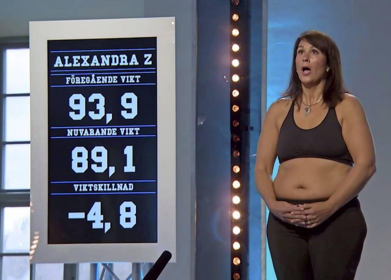 Alexandra Zazzi under en vägning I Biggest Loser VIP