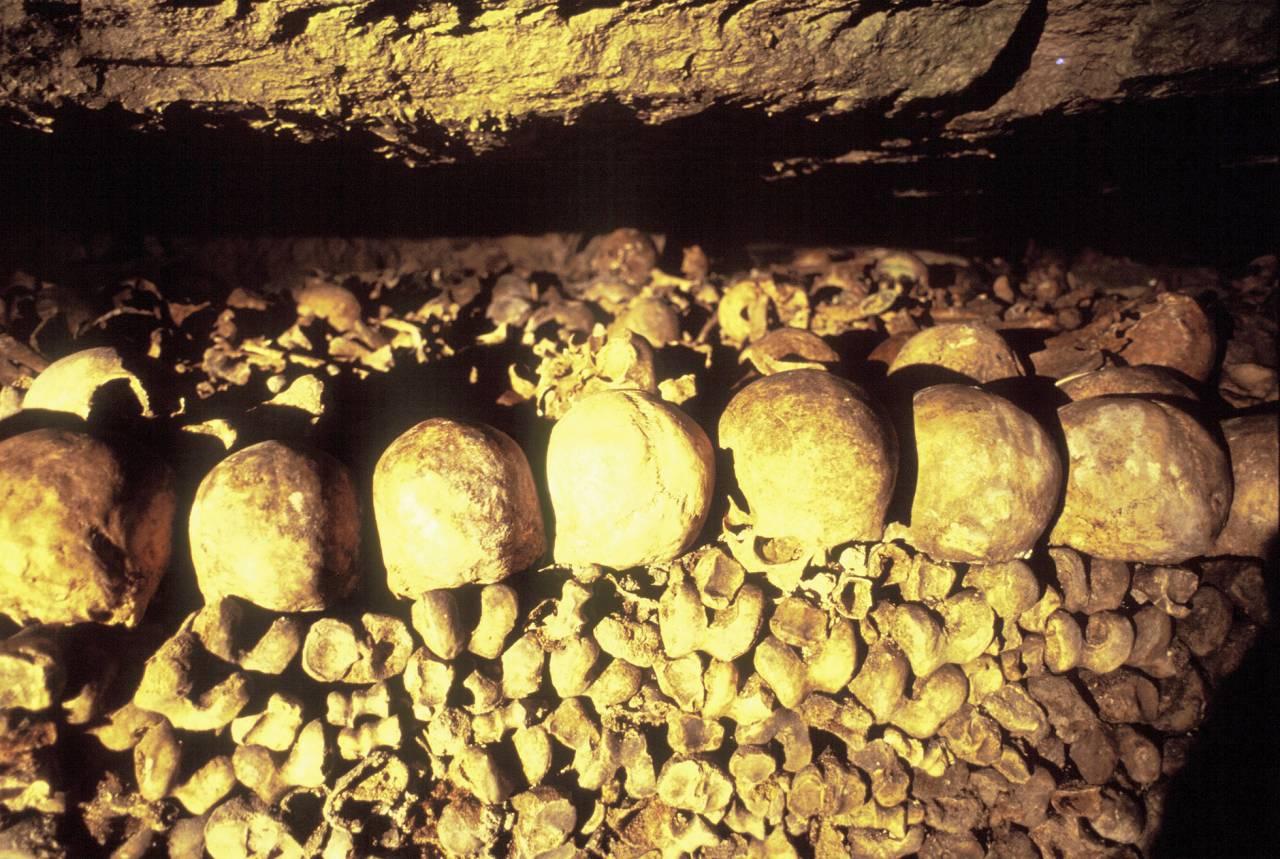 Skallar i katakomberna i Paris
