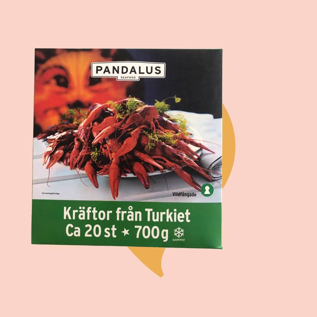 Kräftpaket från Pandalus med frysta vildfångad djupfrysta kräftor från Turkiet