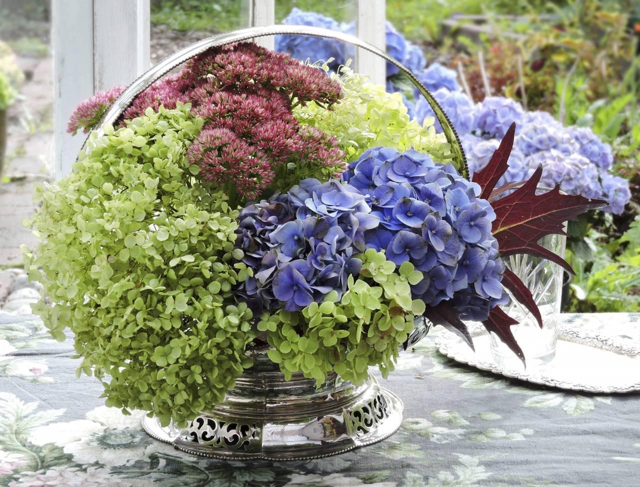 En tjusig, snabbt fixad sensommar-dekoration med olika hortensiasorter, kärleksört och vinfärgade höstblad.