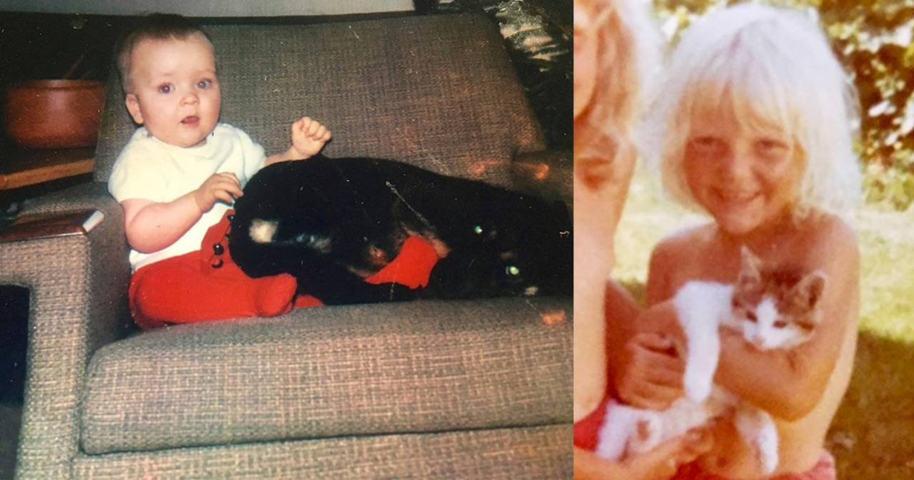 Mats med hund och Pia med katt när de var riktigt små.