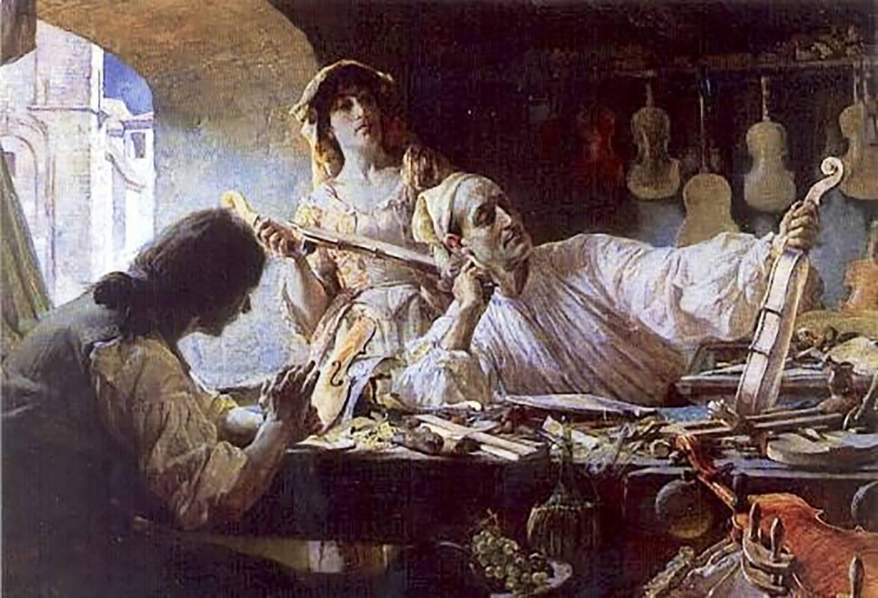 Romantisk målning Antonio Stradivari utförd av brittiske konstnären Edgar Bundy 1893