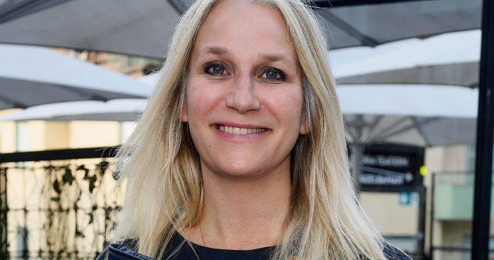 Ann Söderlund på invigningen av Mosebacketerassen i Stockholm i juni 2019.