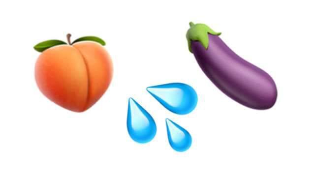 Emojis som nu inte längre får användas med sexuell anspelning.