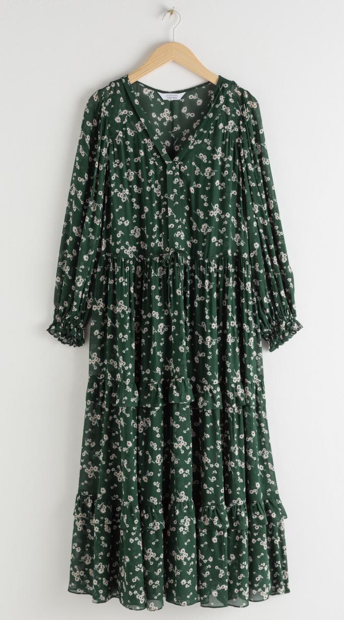 Grönblommig maxiklänning från & Other Stories