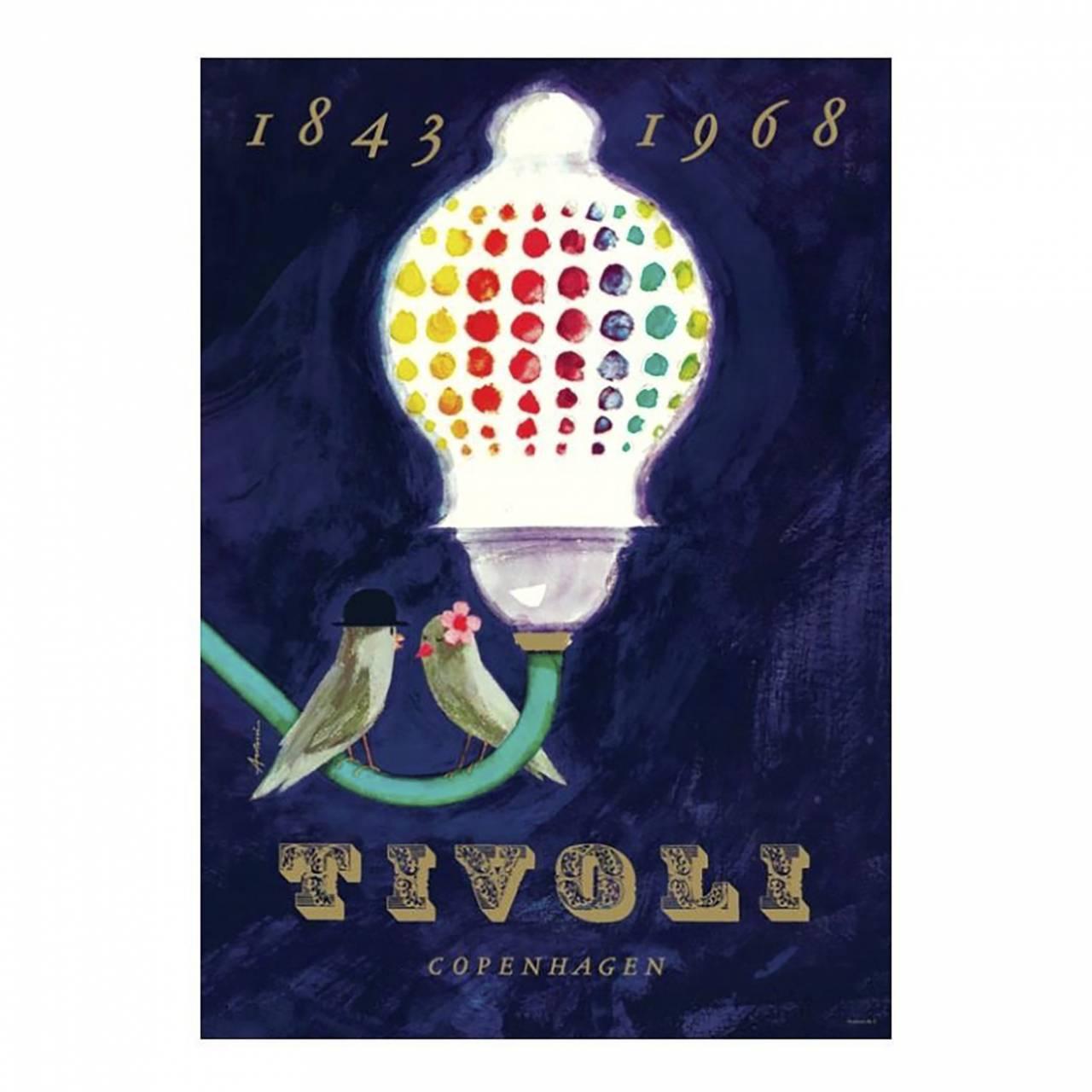 Särtryck av Tivolis jubileumsaffisch från 1968 av Ib Antoni