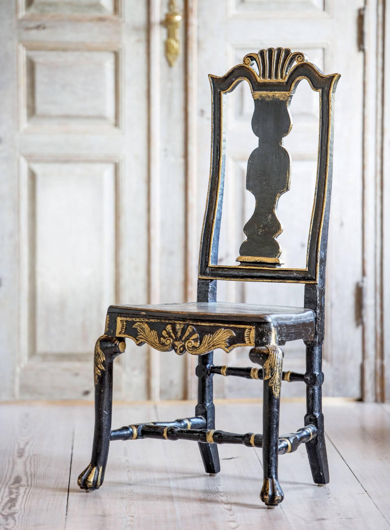 Senbarockstol i svart