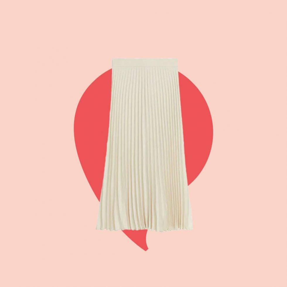 Plisserad kjol från Arket som Malou von Sivert burit i tv4.