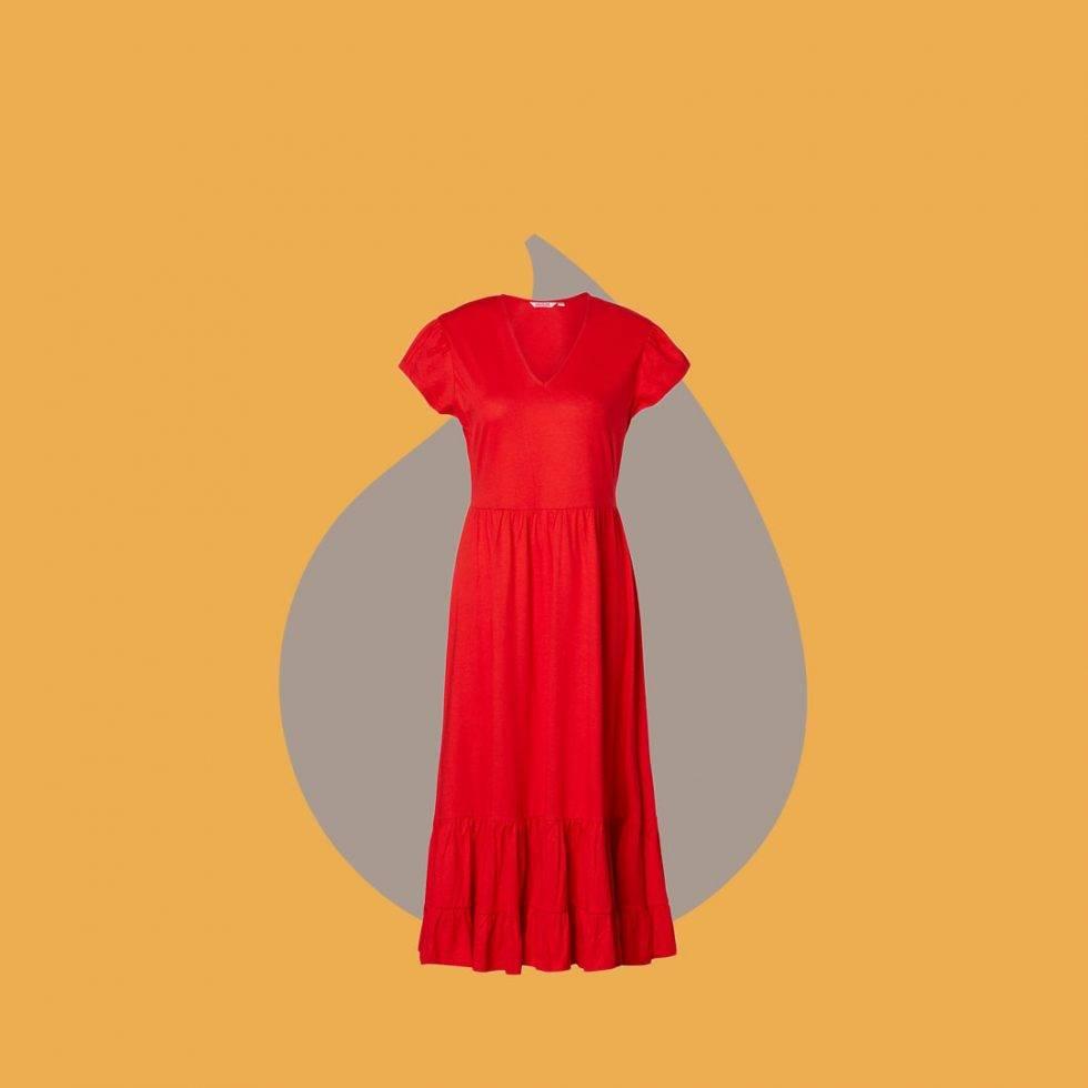 Röd maxiklänning från Indiska