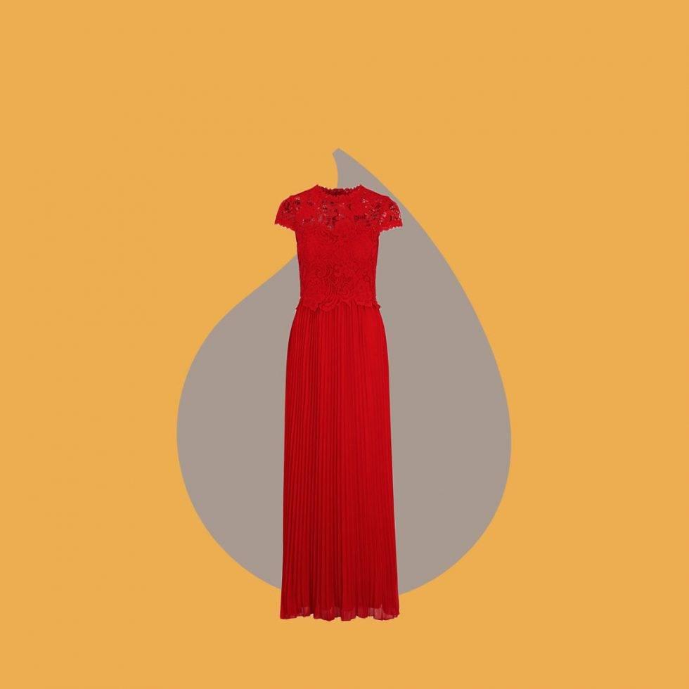 Röd långklänning med plisserad kjol från Bubbleroom