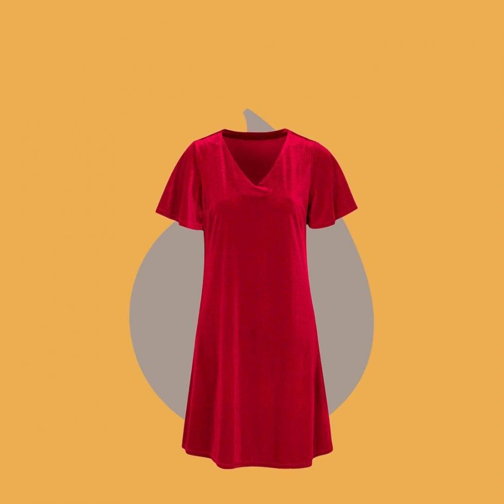 Röd klänning i sammet från Cellbes