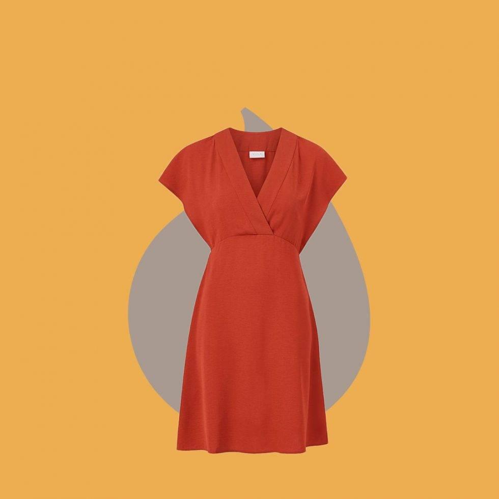 Röd klänning i omlott från Vila