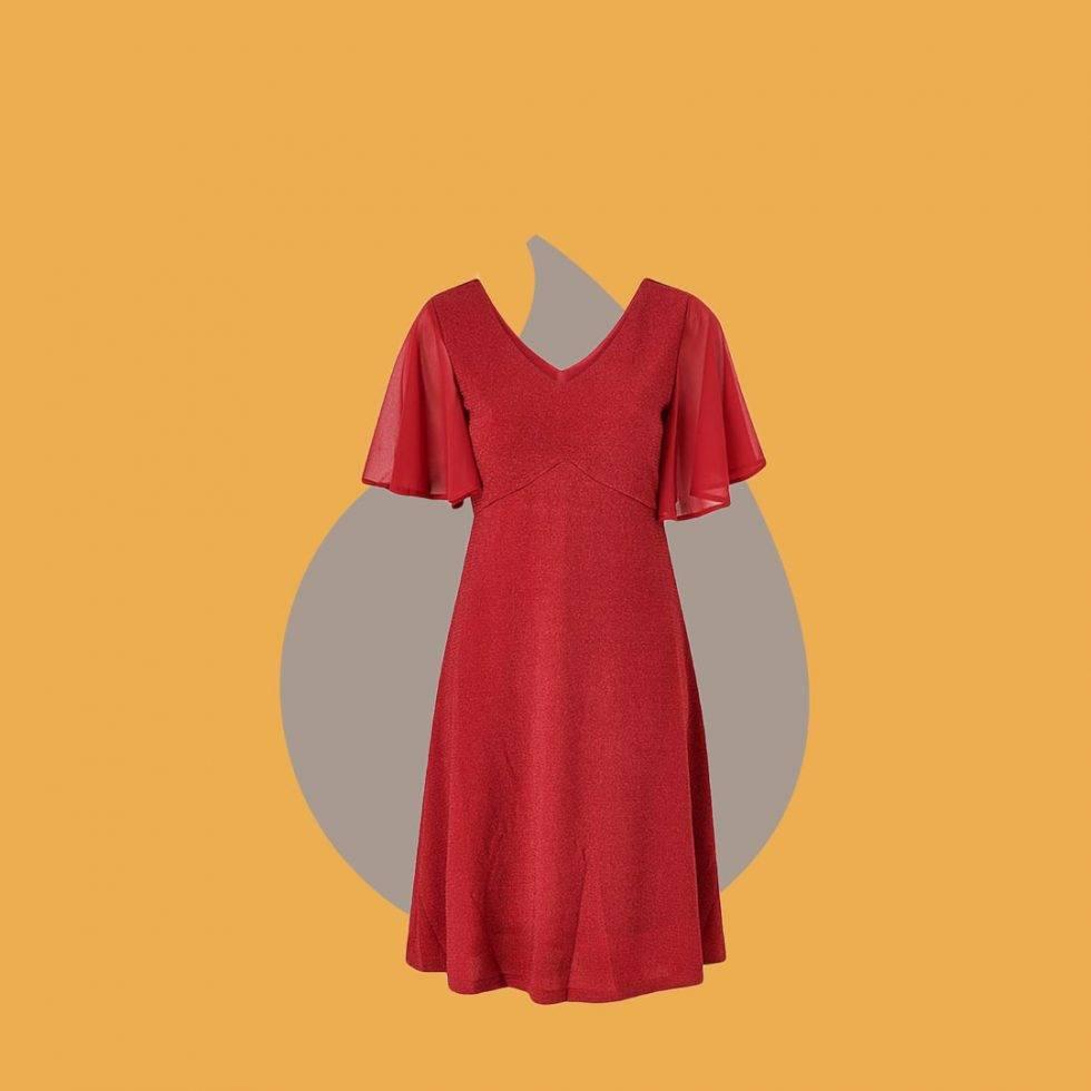 Rödglittrig klänning