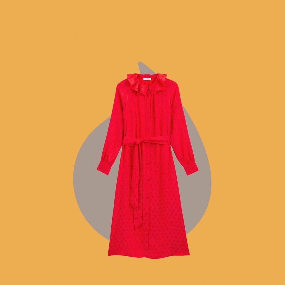 Röd klänning med krage och knytband i midjan