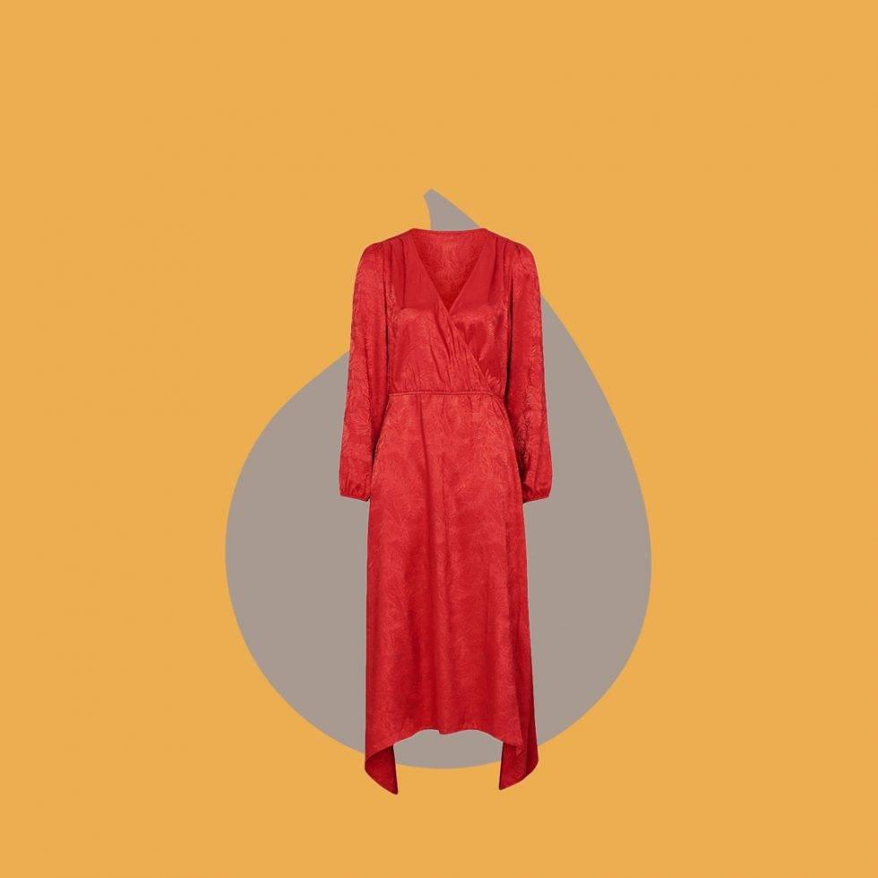 Röd klänning i omlott från Ellos