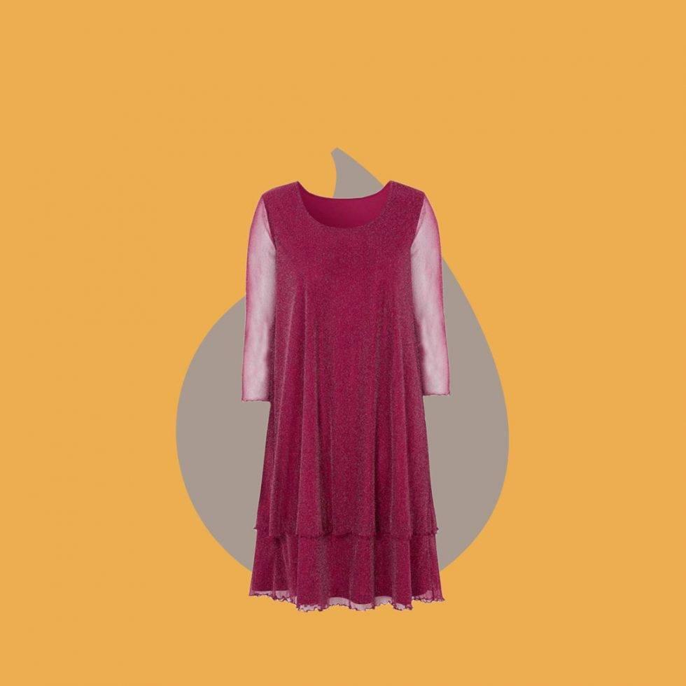 Mörkröd klänning i mesh från Cellbes