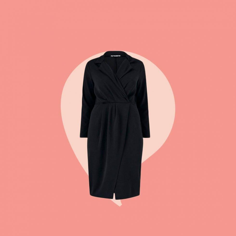 Skjortklänning svart omlott i större storlekar