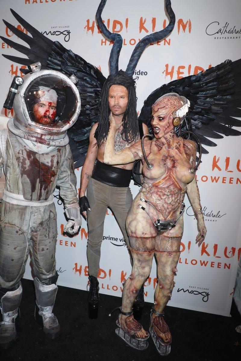 Tom Kaulitz, Bill Kaulitz och Heidi Klum på halloween 2019