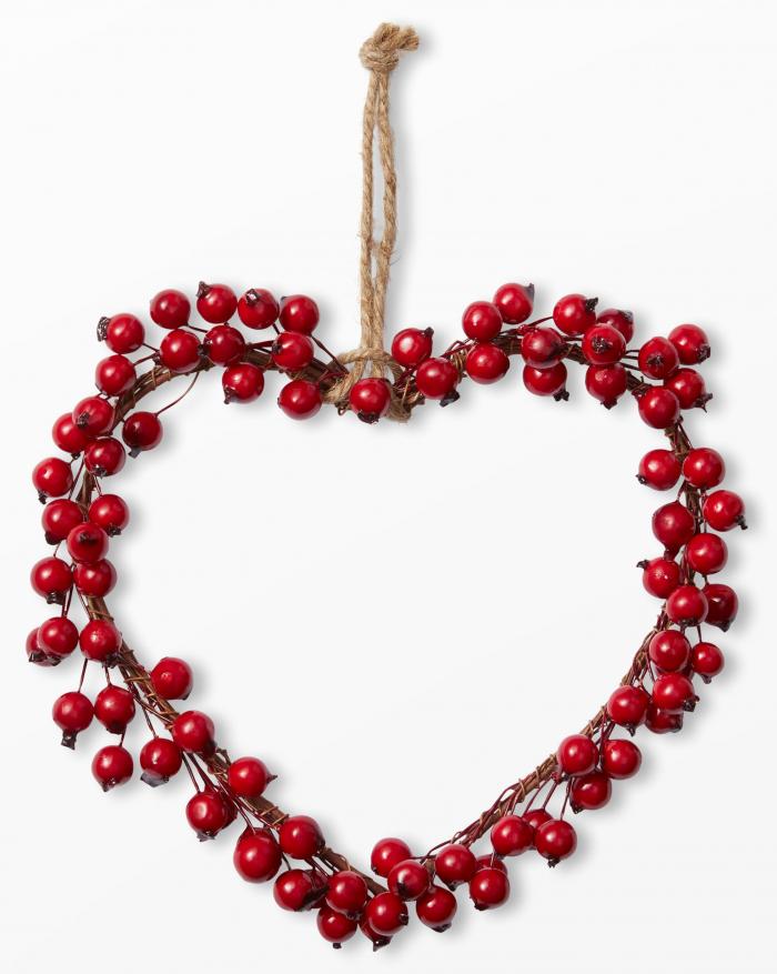 Dekorationshjärta med bär från Åhléns