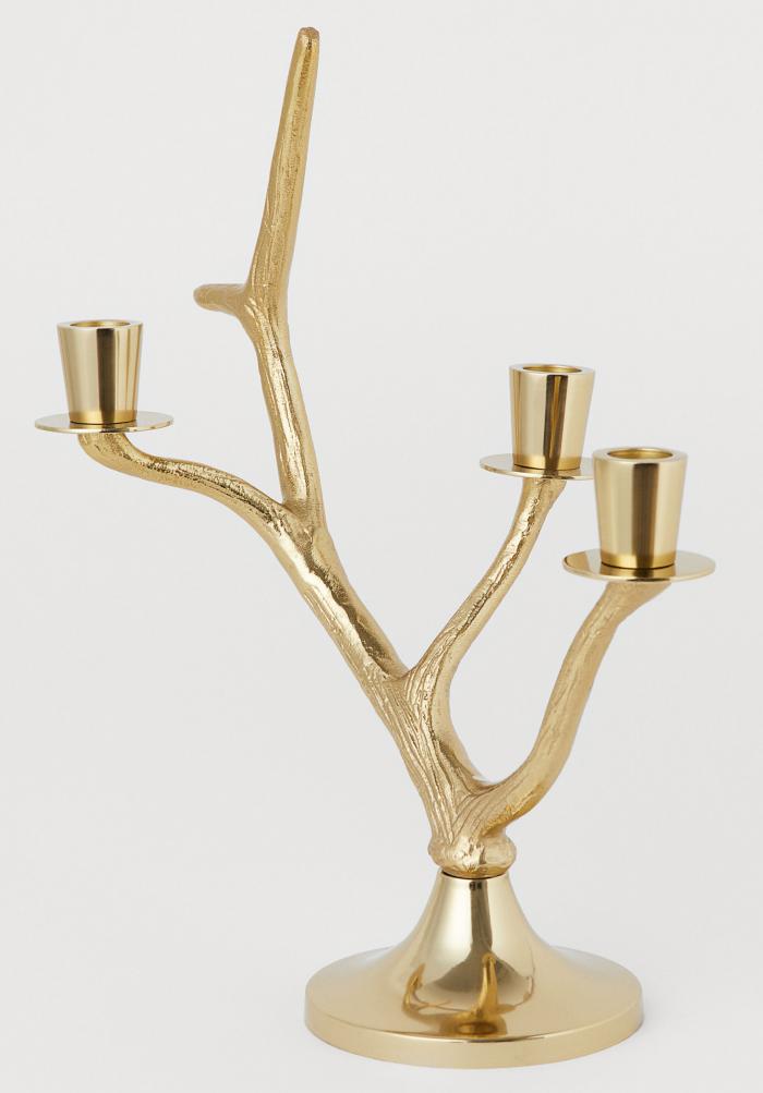 Guldfärgad grenljusstake från H&M Home