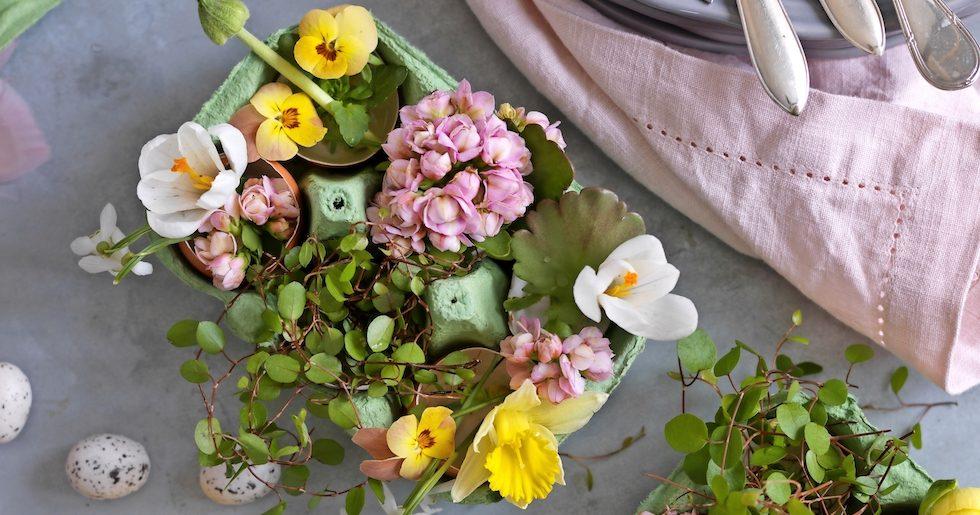 Blommande påskpynt – fint att njuta av själv eller att ge bort som present.