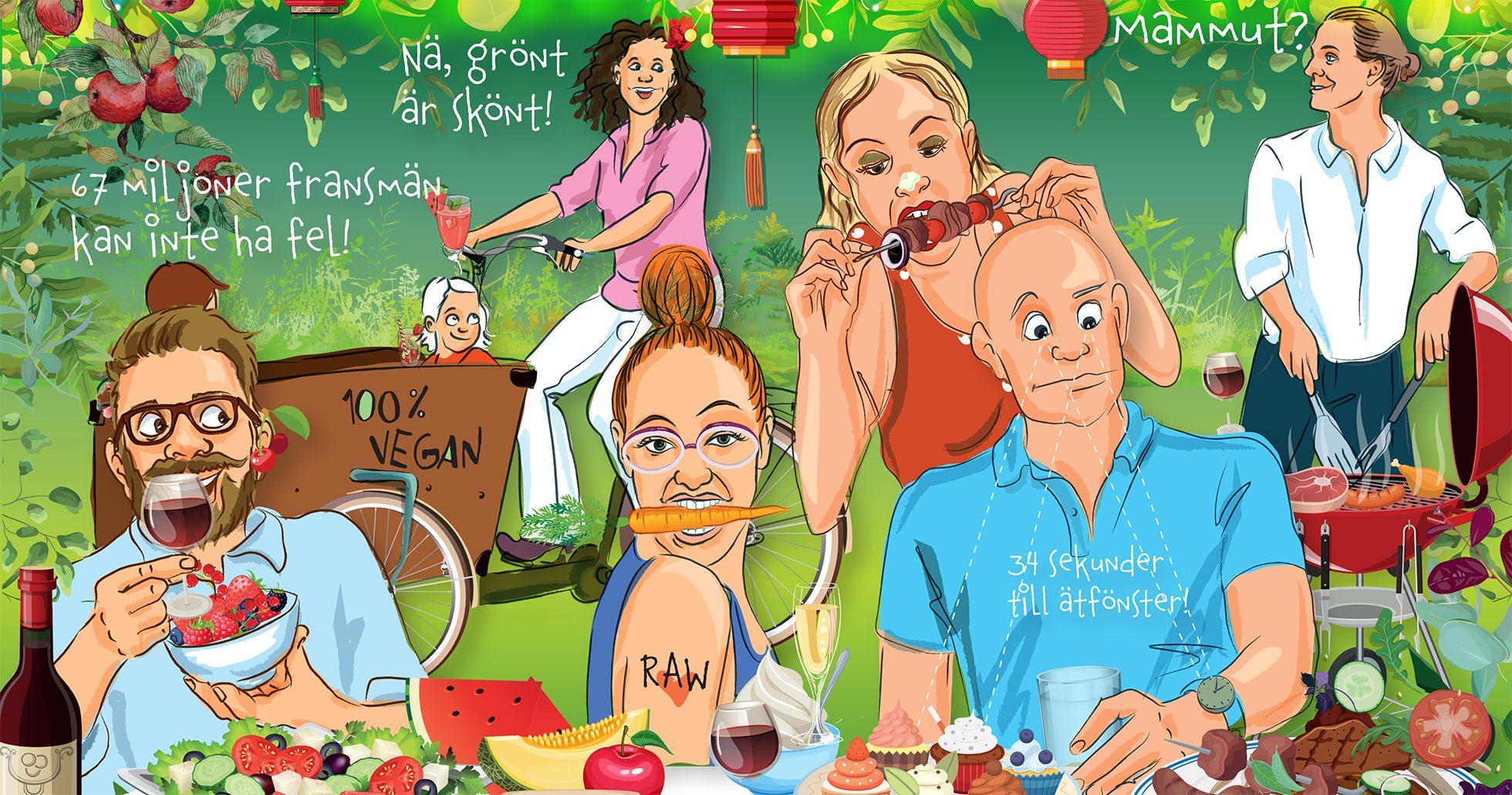 Illustration med människor som sitter och äter