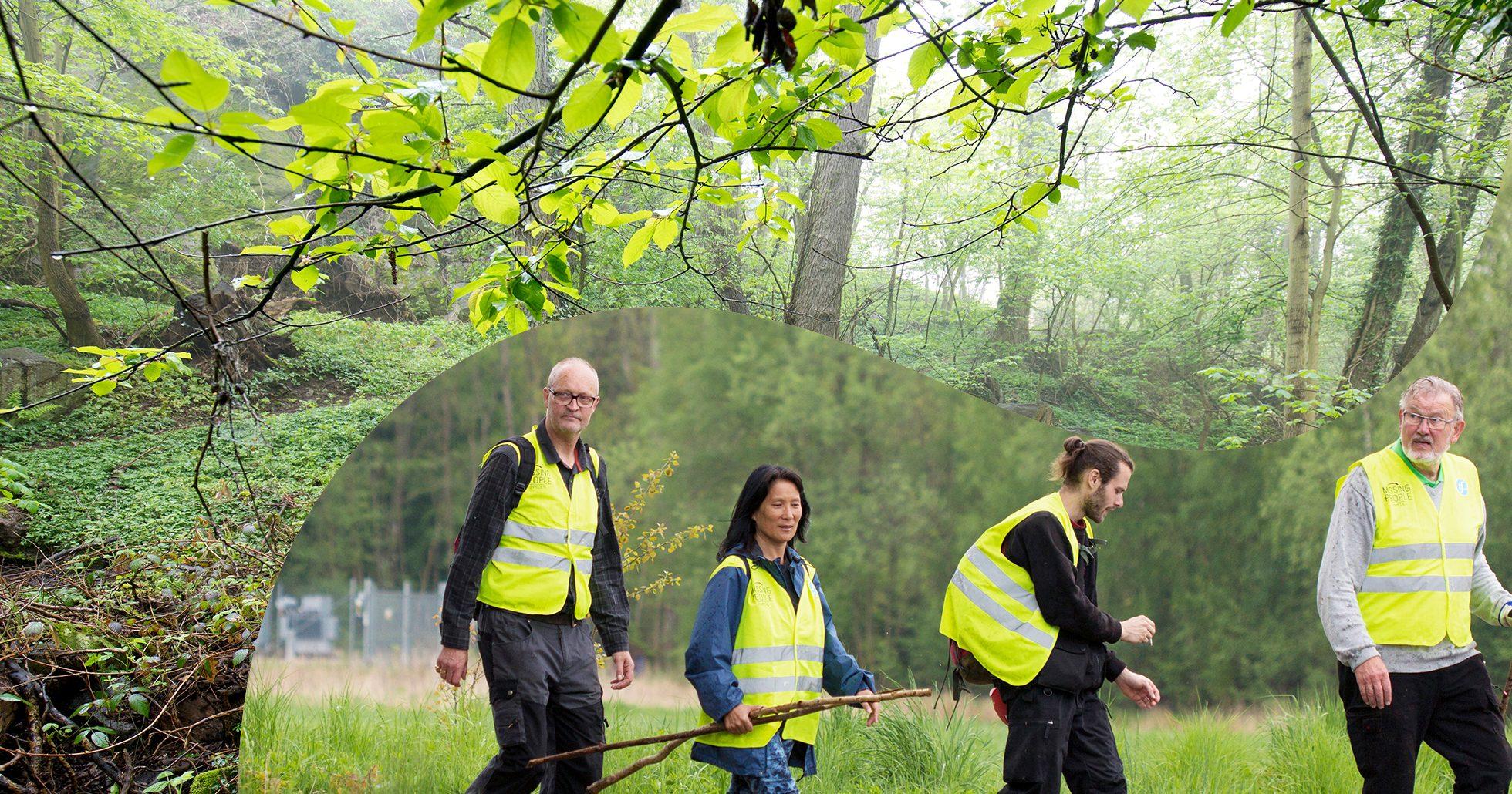 Människor från Missing peope söker i skogen