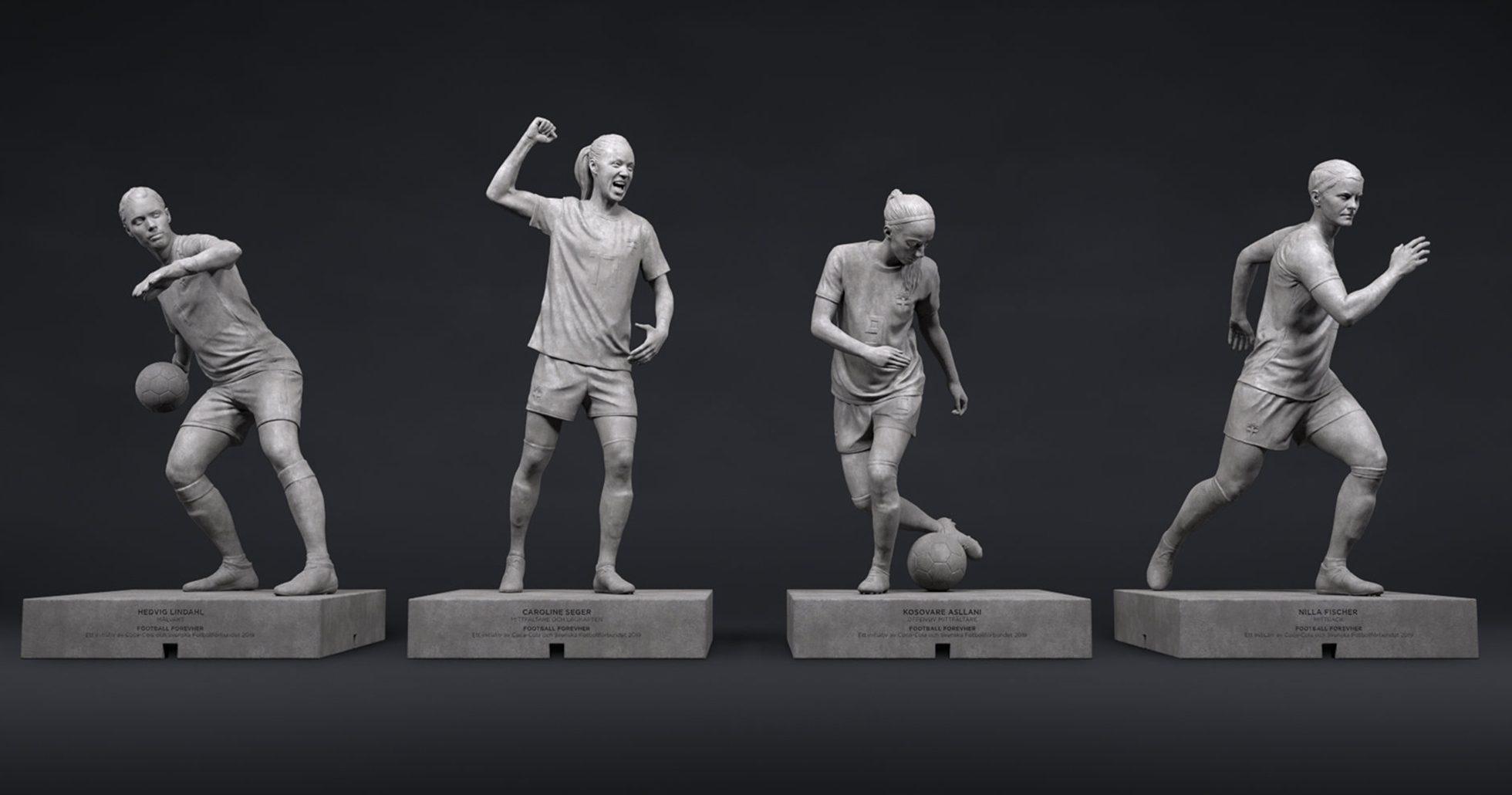 Svenska VM-damerna som statyer