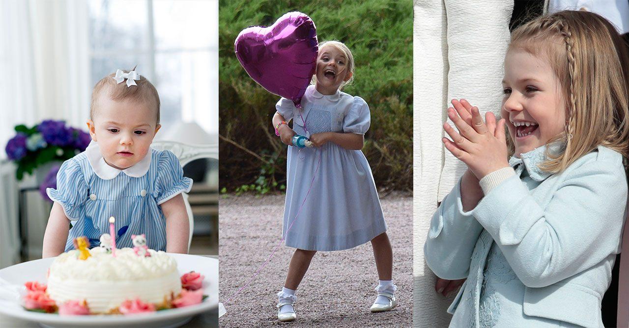 Kollage med bilder på prinsessan Estelle