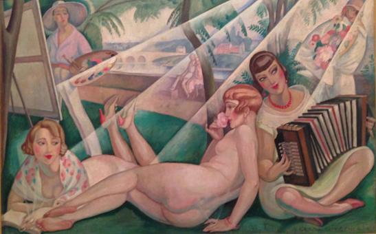 Målning av Gerda. Lili ligger i mitten mellan två vänner. Einar står vi staffliet