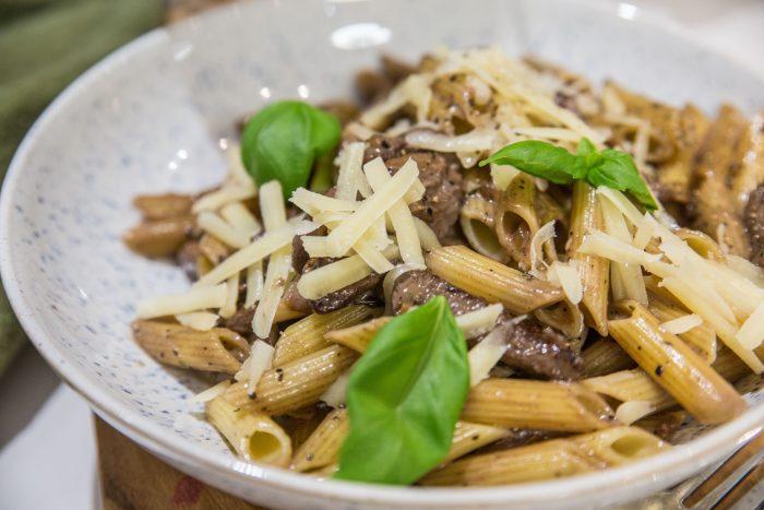 pasta med oxfile recept