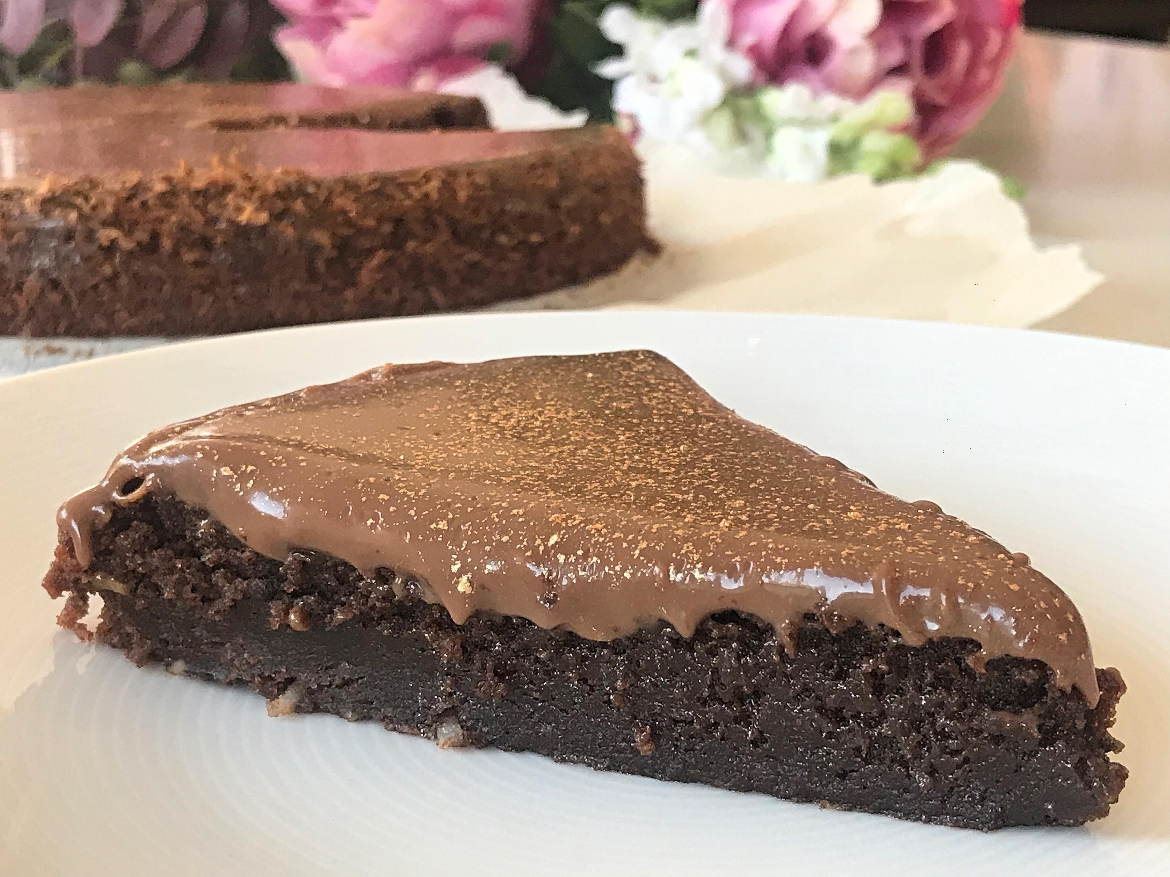 kladdkaka med chokladöverdrag