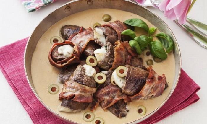 recept på lövbiff rullader med bacon
