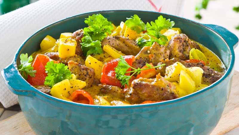 het kycklinggryta med curry och chili